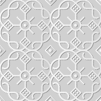 White paper art curve check cross round dot line frame flower,  stylish decoration pattern background for web banner greeting card