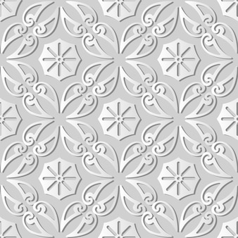 White paper art curve spiral cross frame vine flower,  stylish decoration pattern background for web banner greeting card