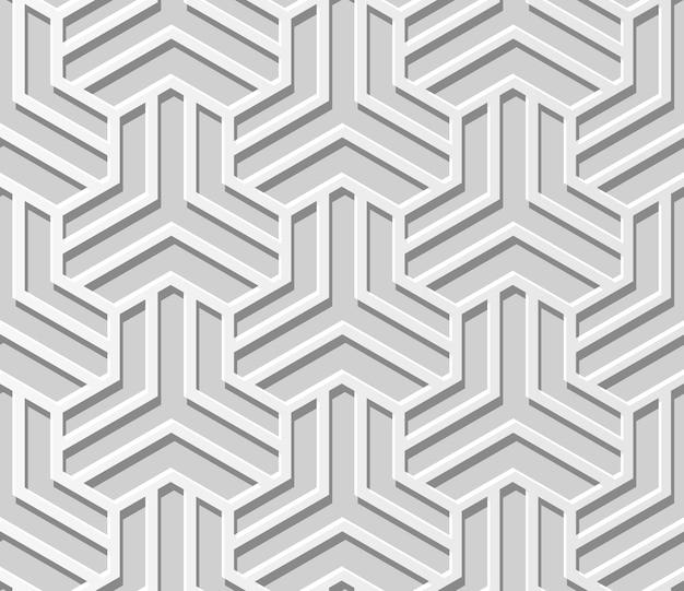 ホワイトペーパーアートジオメトリクロスパターンシームレス背景、ウェブバナーグリーティングカードのスタイリッシュな装飾パターン背景