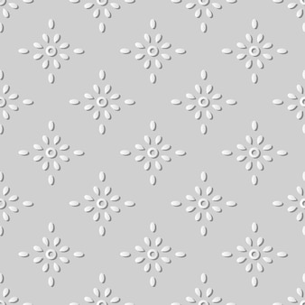 White paper art round cross dot flower,  stylish decoration pattern background for web banner greeting card