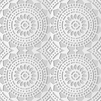 White paper art round cross dot line frame flower,  stylish decoration pattern background for web banner greeting card