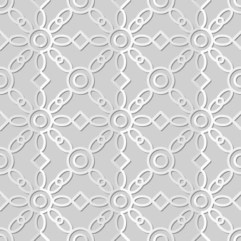 White paper art round cross frame check flower,  stylish decoration pattern background for web banner greeting card Premium Vector