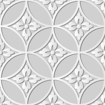 White paper art round cross frame flower,  stylish decoration pattern background for web banner greeting card