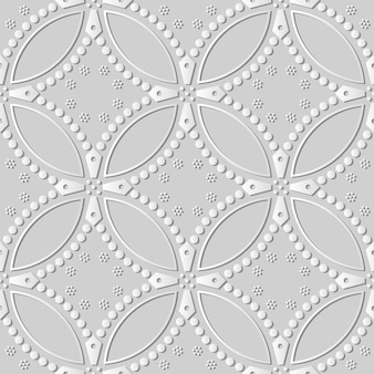 White paper art round curve cross dot flower,  stylish decoration pattern background for web banner greeting card