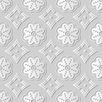 White paper art round curve dot line flower frame,  stylish decoration pattern background for web banner greeting card