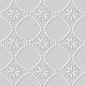 White paper art round dot line cross flower,  stylish decoration pattern background for web banner greeting card