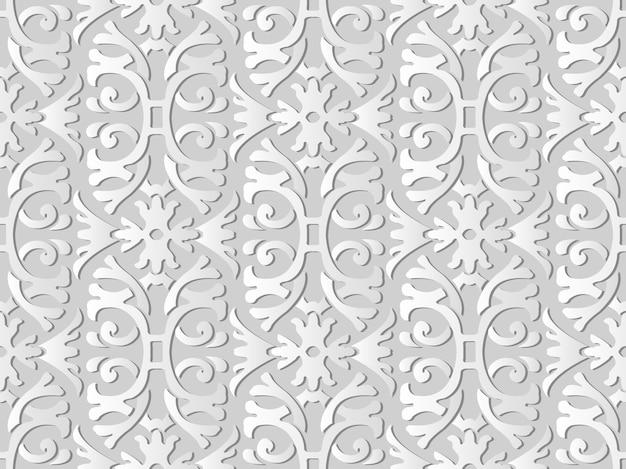 White paper art spiral curve cross garden frame flower,  stylish decoration pattern background for web banner greeting card