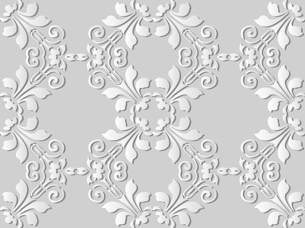 Белая бумага искусство спираль кривая вихрь крест лист цветок, стильный узор украшения фон для веб-баннера поздравительной открытки