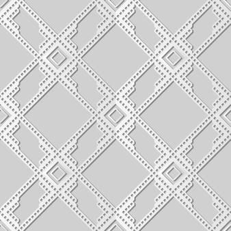 White paper art square check cross frame geometry line,  stylish decoration pattern background for web banner greeting card