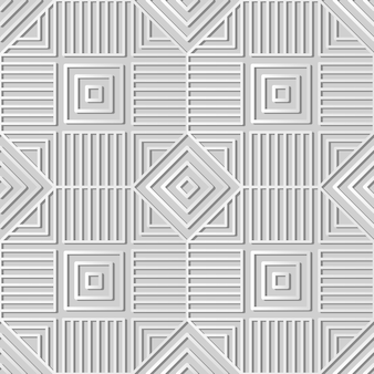 White paper art square check spiral cross frame line,  stylish decoration pattern background for web banner greeting card