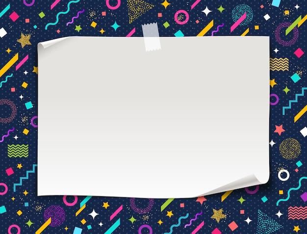 Баннер белой бумаги на разноцветном абстрактном фоне