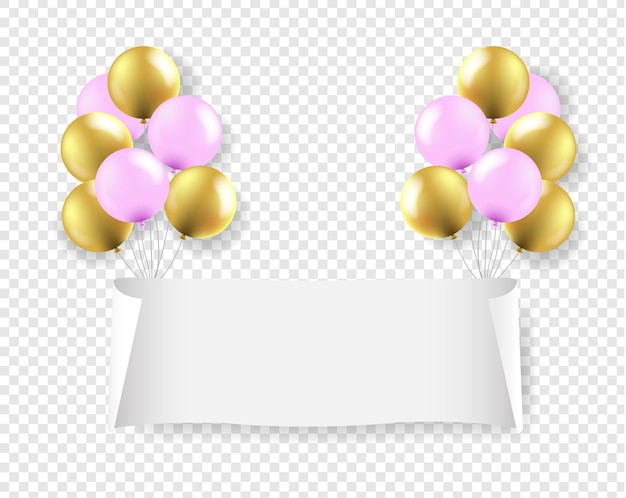 White paper banner with pink and golden balloons transparent background with gradient mesh,