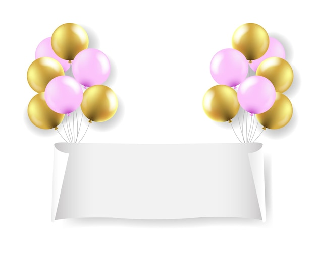 White paper banner with white balloons transparent background with gradient mesh