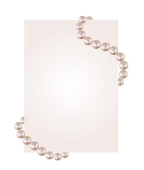 真珠のストリングが付いた白い紙の空白。
