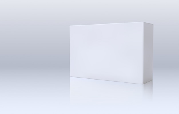 White paper box. 3d package. template for medicines branding design.