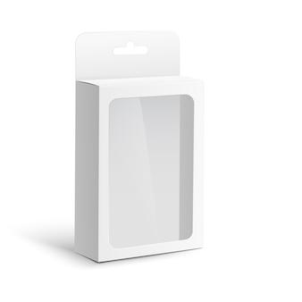 ハングタブとプラスチックの透明なウィンドウ-半分の側面図、分離された現実的なベクトルイラストのホワイトペーパーボックス。