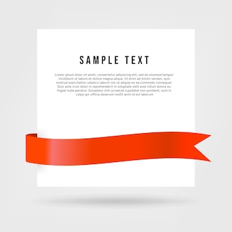 White paper card with red ribbon.