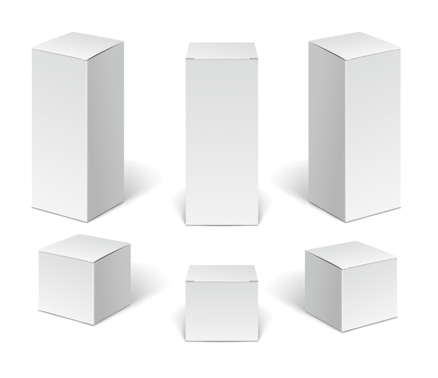 White paper cardboard package boxes. set of blank vertical cosmetic, medical and electronic devices boxes isolated on white background.