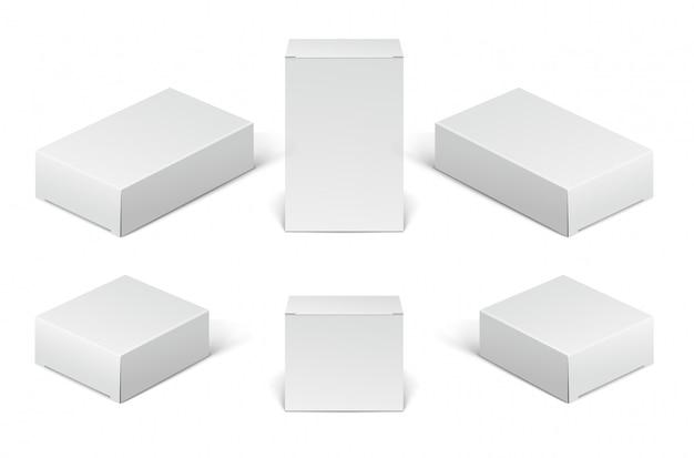 Картонные коробки белого цвета. набор пустых коробок косметических, медицинских и электронных устройств, изолированные на белом фоне.