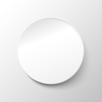 White paper circle background. vector illustration in modern paper style with realistic shadow