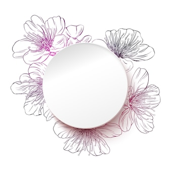 White paper circle with a flower background. spring vector illustration with copy space in modern paper style