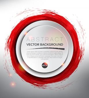 赤、手描きの水彩画のホワイトペーパー円。白い背景で隔離されました。