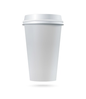 White paper coffee cup with plastic lid.