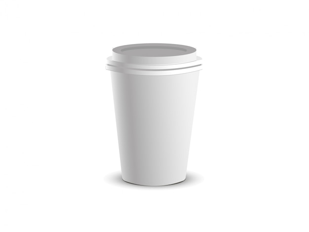 White paper cup with cap