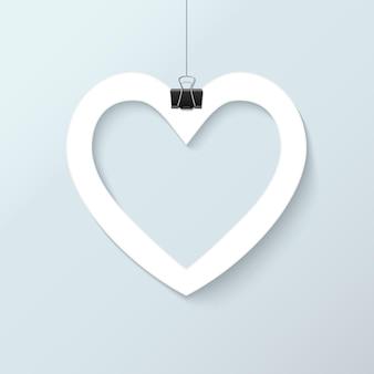 ホワイトペーパーは、バレンタインデーの招待状グリーティングカード、ベクトルイラストの愛の心をカット