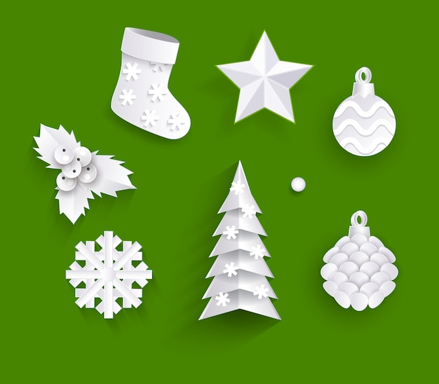 White paper cut set of christmas decorations
