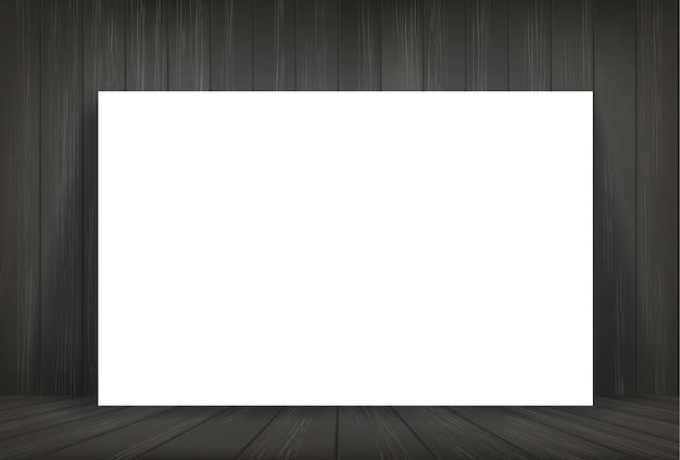 White paper in dark room space background.