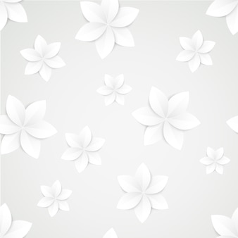 White paper flowers seamless pattern