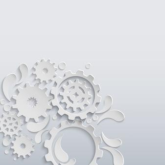 白い紙のギアと歯車の背景