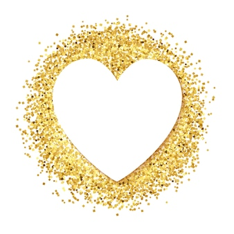 White paper heart on golden glitter.