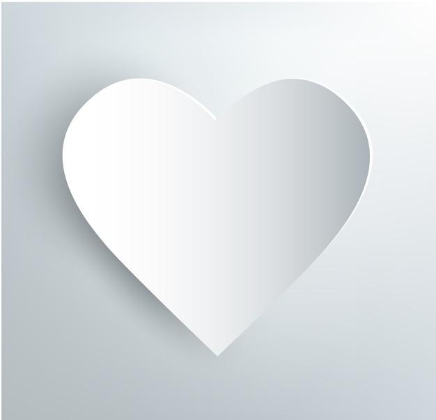 흰색 바탕에 그림자와 함께 백서 심장 프리미엄 벡터