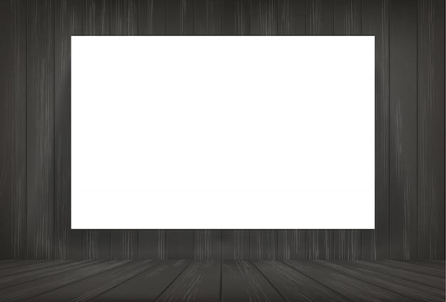 暗い部屋のスペースの背景に白い紙。