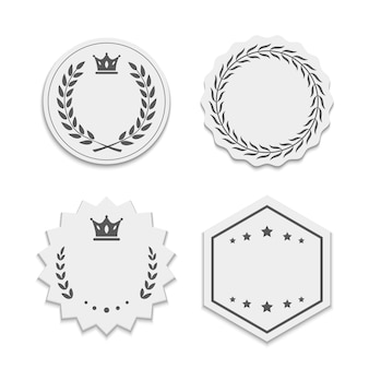 White paper labels with wreaths and crowns. beautiful stickers with stroke, different shapes