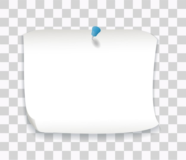 White paper note with blue pin
