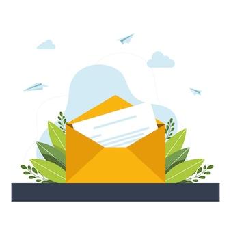 Страница белой бумаги в открытом конверте с буквами и листьями на сером фоне. пустое открытое письмо бумаги вырезать шаблон листа природы. открытый конверт с письмом и зелеными листьями. векторная иллюстрация