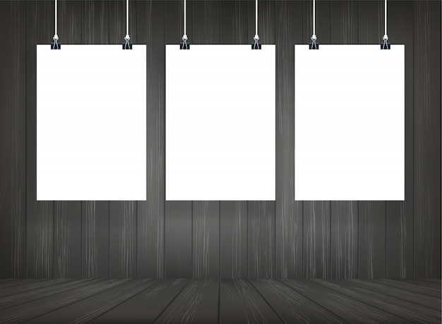 White paper poster hanging with wooden room space background.
