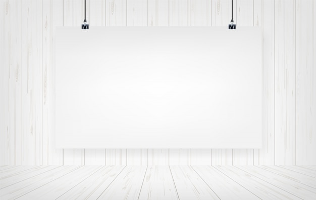 White paper poster hanging with wooden wall background.