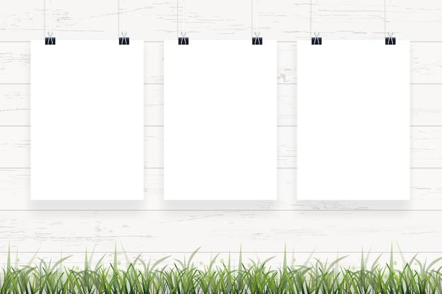 White paper poster hanging.