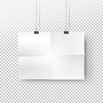 バインダーにぶら下がっている折り畳まれたシートの痕跡と白い紙のポスター。