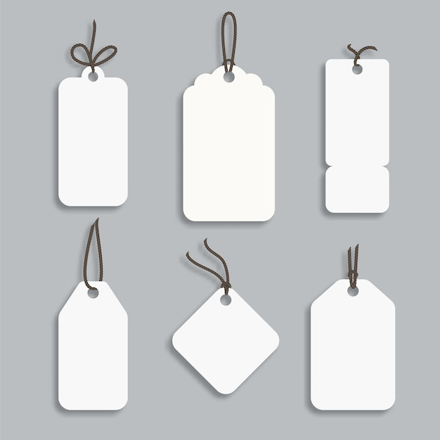 White paper price tag or gift tag in different shapes.