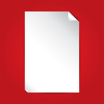 White paper on red background with copy space