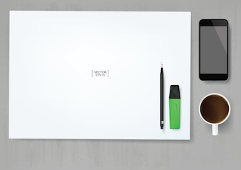 White paper sheet background with office object set on concrete texture background.