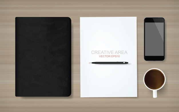 White paper sheet and business object on wood background.