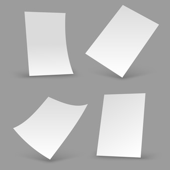 White paper sheets. a4 blank brochure, realistic poster mockups. 3d flyer vector templates