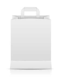 Белая бумага хозяйственная сумка фондовый вектор иллюстрация, изолированные на фоне