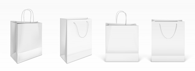 White paper shopping bags